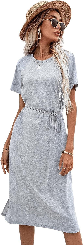 Milumia Women High Waist Short Sleeve Midi Dress Slit Hem Belted Tee Shirt Dress