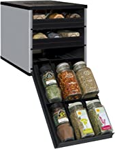 YouCopia 02181-02-SLV Original SpiceStack 18-Bottle Spice Rack Organizer with Universal Drawers, Silver, Small,