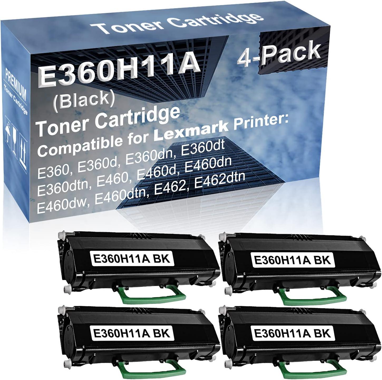 4-Pack Compatible High Capacity E360dtn, E460, E460d, E460dn Printer Toner Cartridge Replacement for Lexmark E360H11A Toner Cartridge (Black)