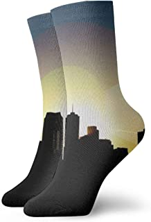 WEEDKEYCAT Denver Skyline Silhouette with Colorado Flag Adult Short Socks Cotton Gym Socks for Mens Womens Yoga Hiking Cycling Running Soccer Sports