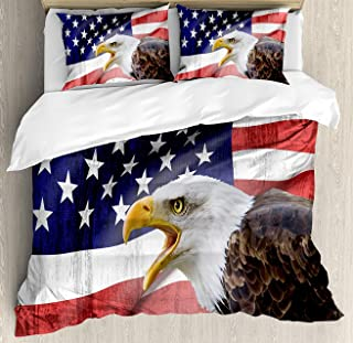 OUR WINGS American Flag Duvet Cover Set Queen Size, Eagle on Foreground Banner Pride History Solidarity Martial Identity Symbol, Decorative 4 Piece Bedding Set with 2 Pillow Shams, Multicolor