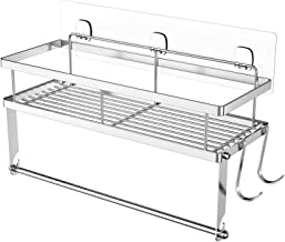 ESOW Paper Towel Holder with Shelf Storage, Adhesive Wall Mount 2-in-1 Basket Organizer for Kitchen & Bathroom, Durable Me...