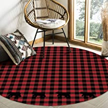 Olivefox 5 Feet Round Area Rugs Pads, Black Red Buffalo Check Lattice with Bear Non-Slip Soft Floor Rugs Indoor Carpet for...
