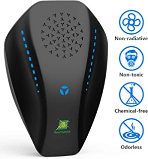 Neatmaster Dual Microchip Ultrasonic Pest Repeller Mice Control Variable Electromagnetic Insect Repellent Reject Rodent Bed Bug Mosquito Ant Fly Cockroach Spider and More, Black