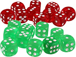 Blesiya 20x Six Sided D6 Dice Playing D&D Warhammer RPG Board Game Favours Green/Red