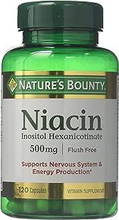 Nature's Bounty Flush Free Niacin 500 Mg, 240 Capsules (2 X 120 Count Bottles)