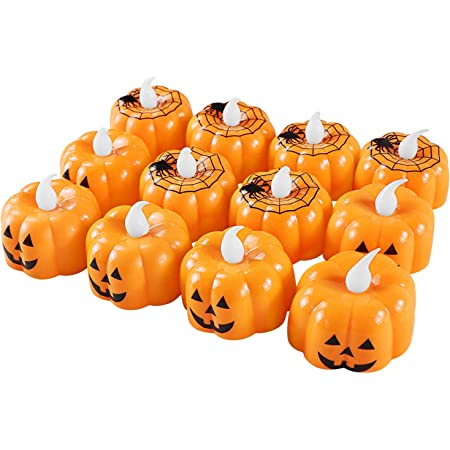 24 Pack Halloween Pumpkin Tealights, LED Pumpkin Lights 3D Pumpkin Flameless Candle for Halloween Decorations, Thanksgiving Decorations, Party Favors, Theme Party
