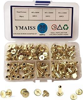 YMAISS 90 Sets Chicago Screws 3 Size 1/43/81/2in Brass Plated Screw Posts Bookbinding Posts Binding Screw Chicago Button P...