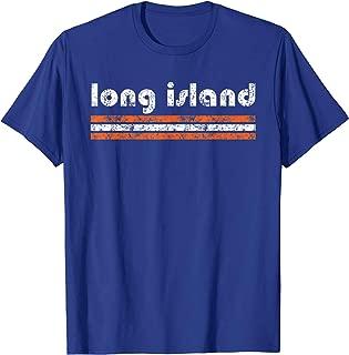 Long Island New York Retro T Shirt Three Stripe Vintage