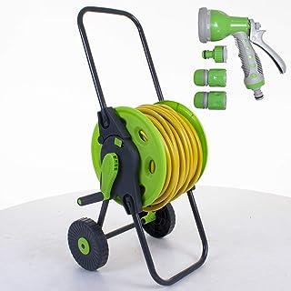 Marko Gardening Hose Reel Cart Trolley Garden Outdoor Hosepipe Water Pipe Portable Freestanding (Hose Cart with 30M Yellow...