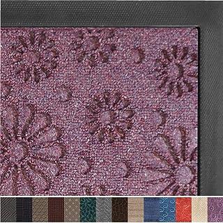 Gorilla Grip Original Durable Rubber Door Mat, 29 x 17, Heavy Duty Doormat, Indoor Outdoor, Waterproof, Easy Clean, Low-Profile Mats for Entry, Garage, Patio, High Traffic Areas, Purple Confetti Daisy