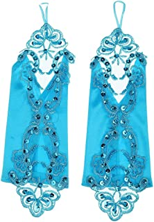 Lovoski Bridal Fingerless Lace Embroidered Glove Satin Mittens Party Lady Wedding Dress