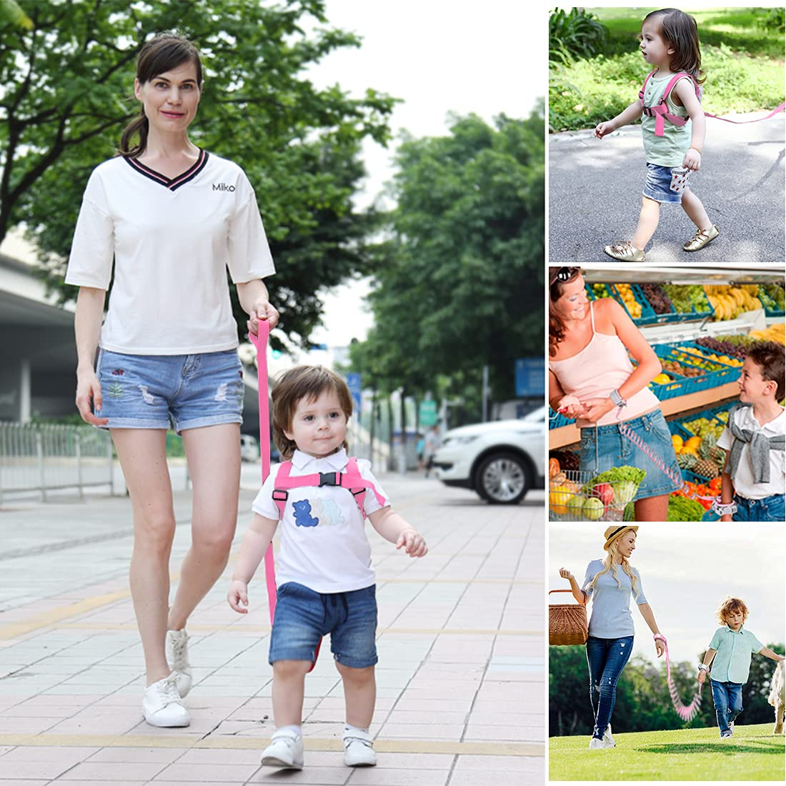 3 in 1 Toddler Harness Leashes + Anti Lost Wrist Link, Walking Wristband Safety Backpack for Toddlers, Child Anti Lost Leash Baby Cute Assistant Strap Belt for Kids Girls Outdoor Activity (Butterfly)
