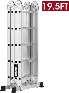 19.5ft Ex-Large Heavy Duty Gaint Aluminum Multi Purpose Folding Ladder Scaffold Ladders with 2 Free Platform Plates- 330Lbs