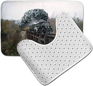 GHWSgGN Steam Train and Railway Forest Bathroom Rug Mats Set 3 Piece Fashion Anti-Skid Pads Bath Mat + Contour + Toilet Lid Cover