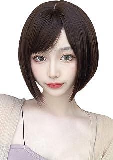 FESHFEN ウィッグ ショート ボブ サイドバング 斜めバング レディース 普段使い ナチュラル 医療用 女性用 女装 フルウィッグ 自然 かつら wig ネット付き