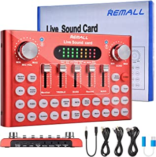 REMALL Bluetooth Live Sound Card Voice Changer, Audio DJ Mixer, Multiple Sound Effects Audio Box for Mobile Phone Computer...