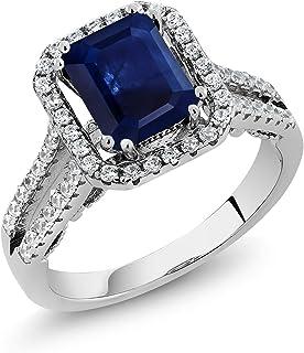 Gem Stone King 925 Sterling Silver Blue Sapphire Women Ring (3.23 Cttw, Gemstone Birthstone, Emerald Cut 9X7MM)