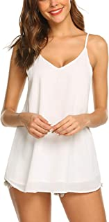SUNAELIA Women Sleeveless Strap Tank Top Camisole Chiffon Summer V Neck Casual Solid Loose Blouse Shirts