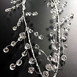 EORTA 94 Inch Crystal Beaded Garland Clear Diamond Branch Chandelier Twinkle Acrylic Ice Silver Wire String Wreath Party D...