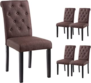 YEEFY Habit Solid Wood Tufted Parsons Dining Chair (Set of 4) (Dark Brown)