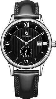 Mens Swiss Watch Automatic Movement Waterproof Wrist Watch Sub-dials Dress Watch with Leather Band