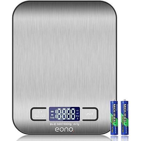 Amazon Brand – Eono Balance de cuisine/pâtisserie numérique en acier inoxydable de haute qualité, avec fonction grammes et onces, garantie de 15ans et charge maximale de 5kg par paliers de 1g