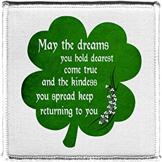 Irish Blessing Prayer May The Dreams You Hold Dearest Come True Green Shamrock Iron On Patch