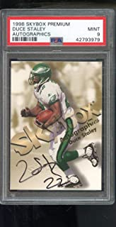 1998 Skybox Premium Autographics Duce Staley Signed AUTO Autograph Autographed MINT PSA 9 Graded NFL Football Card