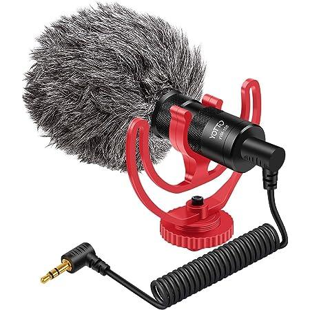 YOTTO Video Micrófono de Condensador, Universal Micrófono Compacto Cardioide para Videocámaras de 3,5 mm para Video/Cámara Canon EOS/Nikon Digital SLR/Android Móvil/Mac Tablet