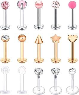 VFUN 16G Piercing Labbro Acciaio Inossidabile 15 Stili Top Piercing Trago Conch per Donna Uomo Lunghezza della Barra 8MM C...