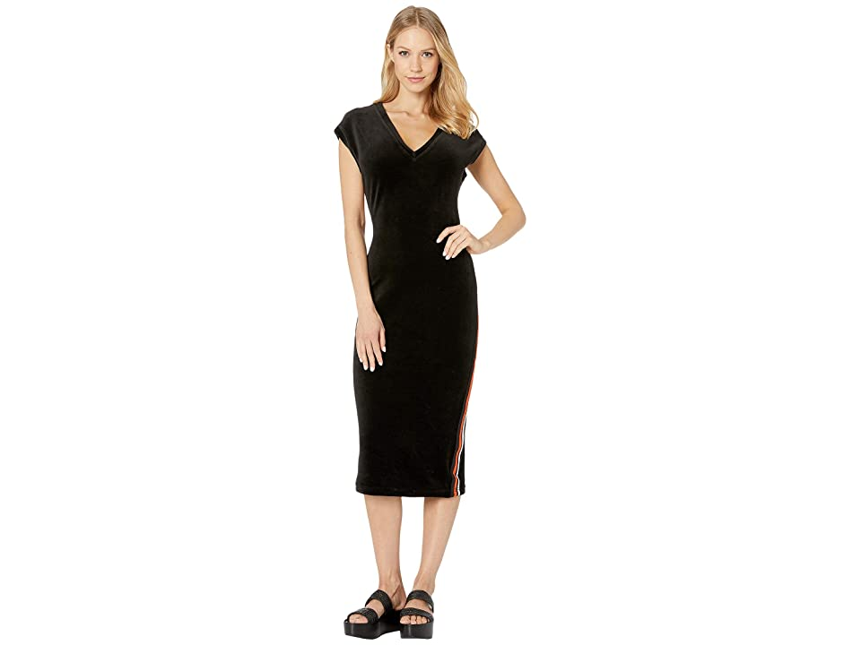 Juicy Couture Stretch Velour Fitted Midi Dress (Pitch Black) Women