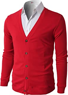 Mens Casual Slim Fit Cardigans V-Neck Basic Designed Long Sleeve Button Down