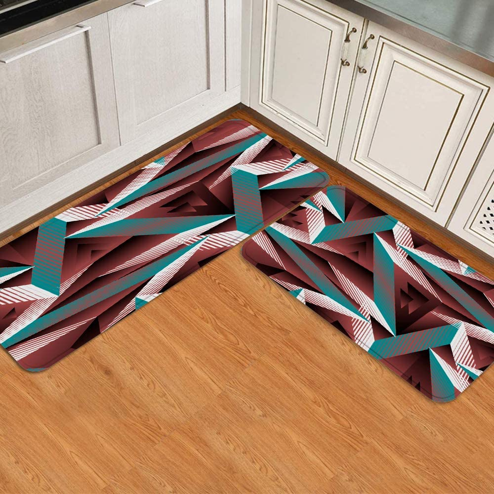ADONINELP 2Pcs Kitchen Mat Sets Graphic Abstract San Diego Mall Geometric Outlet SALE Non-S