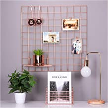 Simmer Stone Rose Gold Wall Grid Panel for Photo Hanging Display & Wall Decoration Organizer, Multi-functional Wall Storage Display Grid, 5 Clips & 4 Nails Offered, Set of 1, Size 23.6