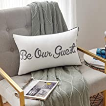 Sanmetex Be Our Guest Farmhouse Lumber Pillow Covers 12 x 20 Inch for Guest Room Decorative Pillows. (Ivory)