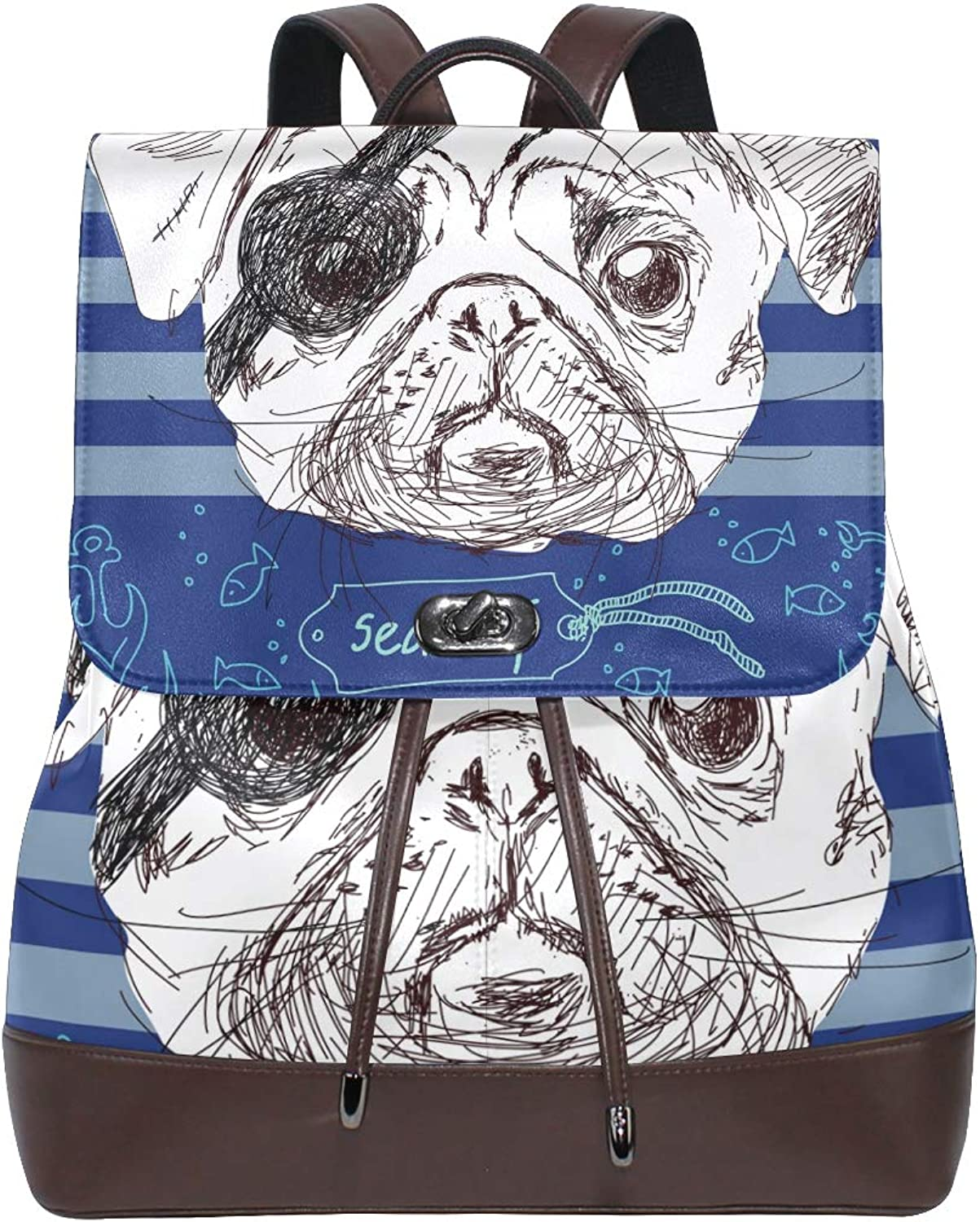 DEZIRO Leather Illustration of Pirate Pug Dog School Pack Backpacks Travel Bag