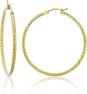 14K Yellow Gold Solid Polished Round Diamond Cut Hoop Earrings for Women | 2mm Thick |Classic Style | Round Diamond Cut Hoop Earrings | Secure Click-Top | Shiny Polished Earrings for Women, 25mm-60mm