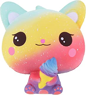 beautyshoppingstore Ice Cream Cat Jumbo Squishies ,Slow Rising Stress Relief Galaxy Squishies Toy Soft Kawaii Scented Kids Toys Collection for Kids Adults (Rose)