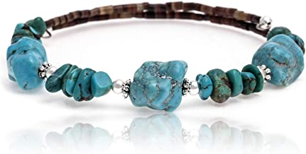 $100Tag Natural Turquoise Certified Navajo Native Adjustable Wrap Bracelet 12867 Made by Loma Siiva