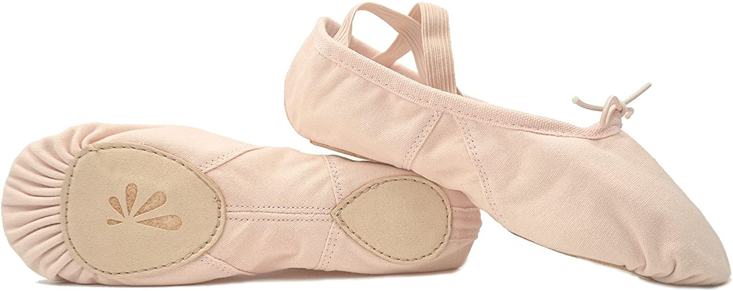 DANCE YOU 1104-1 Canvas Ballet Slippers with Split Sole Ballet Dance shoes for Women and Girls Pink