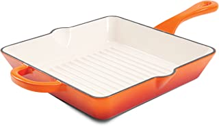 Crock Pot 111995.01 Artisan 10 Inch Enameled Cast Iron Grill Pan, Sunset Orange