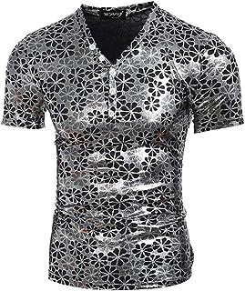 Men's Floral V-Neck Short Sleeve T-Shirt Slim Fit (Color : Silver, Size : X-Large)