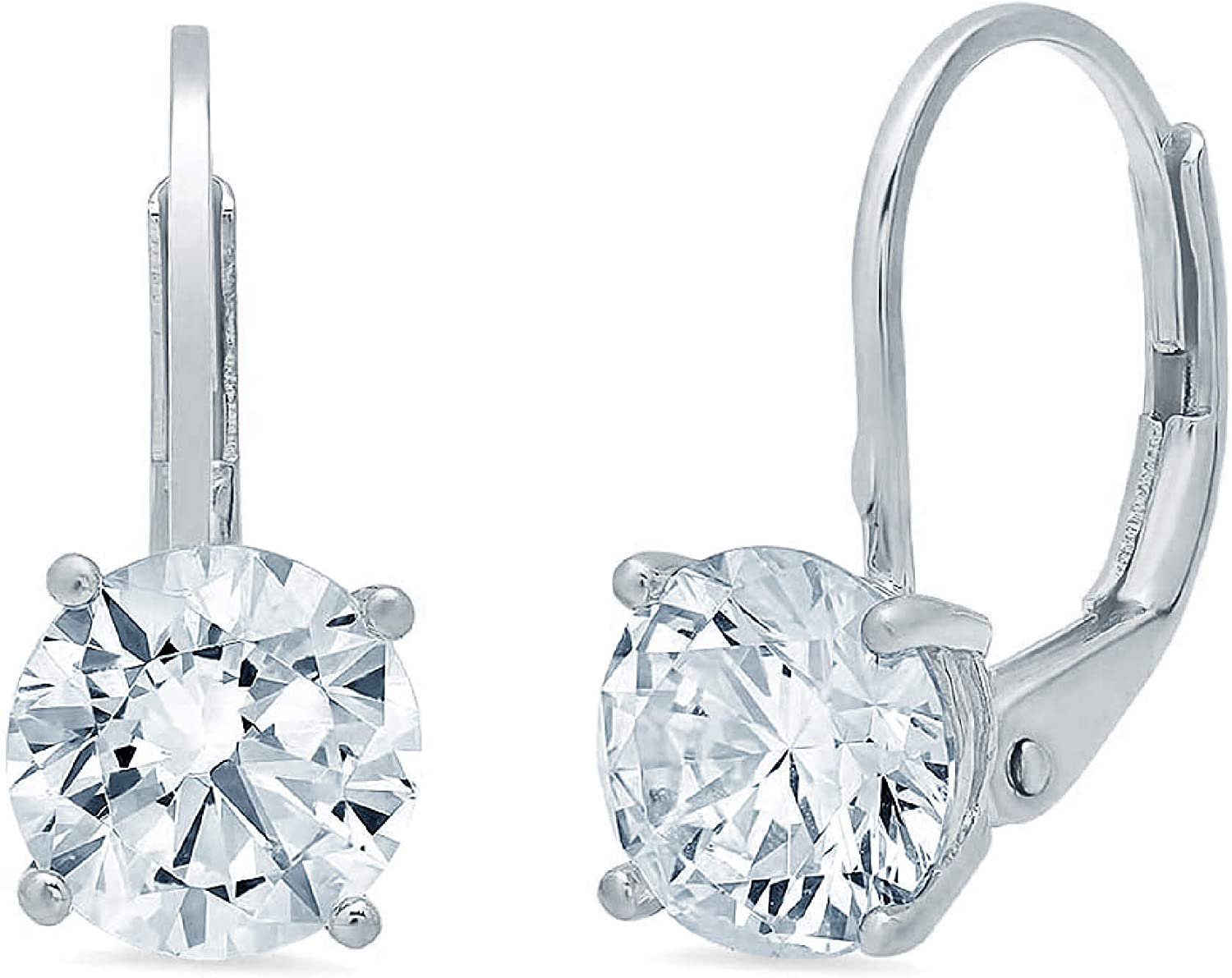 2.0 ct Round Cut ideal VVS1 Conflict Free Gemstone Solitaire Genuine Moissanite Designer Lever back Drop Dangle Earrings Solid 14k White Gold