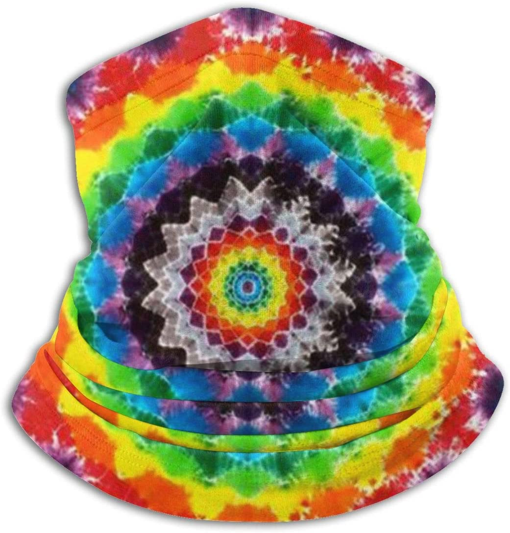 CLERO& Scarf Fleece Neck Warmer Rainbow Mandala Colorful Tie Dye Psychedelic Windproof Winter Neck Gaiter Cold Weather Face Mask for Men Women