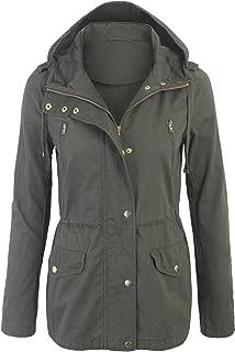 BOHENY Womens Zip Up Military Anorak Safari Jacket with Hoodie ¡¦