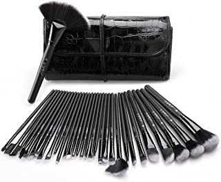Makeup Brush Set, USpicy 32 Pcs Premium Synthetic Professional Makeup Brushes Essential Cosmetics With Case, Face Eye Shadow Eyeliner Foundation Blush Lip Powder Liquid Cream Blending Brush-Black
