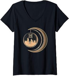 Femme Harry Potter Hogwarts Moon T-Shirt avec Col en V