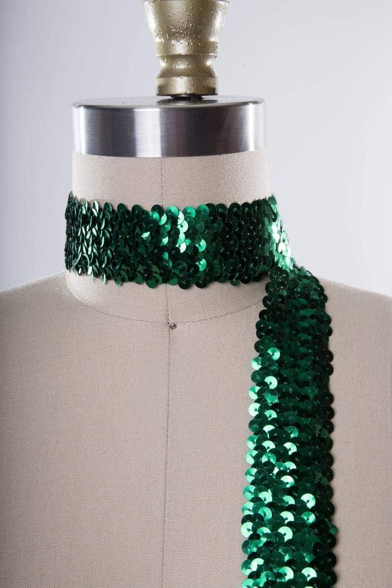 Emerald Green uKET Stretch Sequin Sale item Poison Costume Ivy Trim Ribbon Latest item