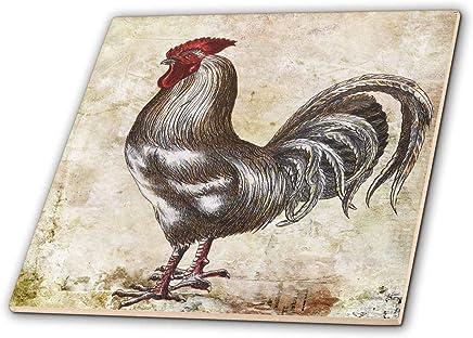 3dRose Cassie Peters Chickens - 复古多姿多彩的公鸡摇滚数字艺术 - 瓷砖 (ct_309341) 白色 6-Inch-Ceramic ct_309341_2